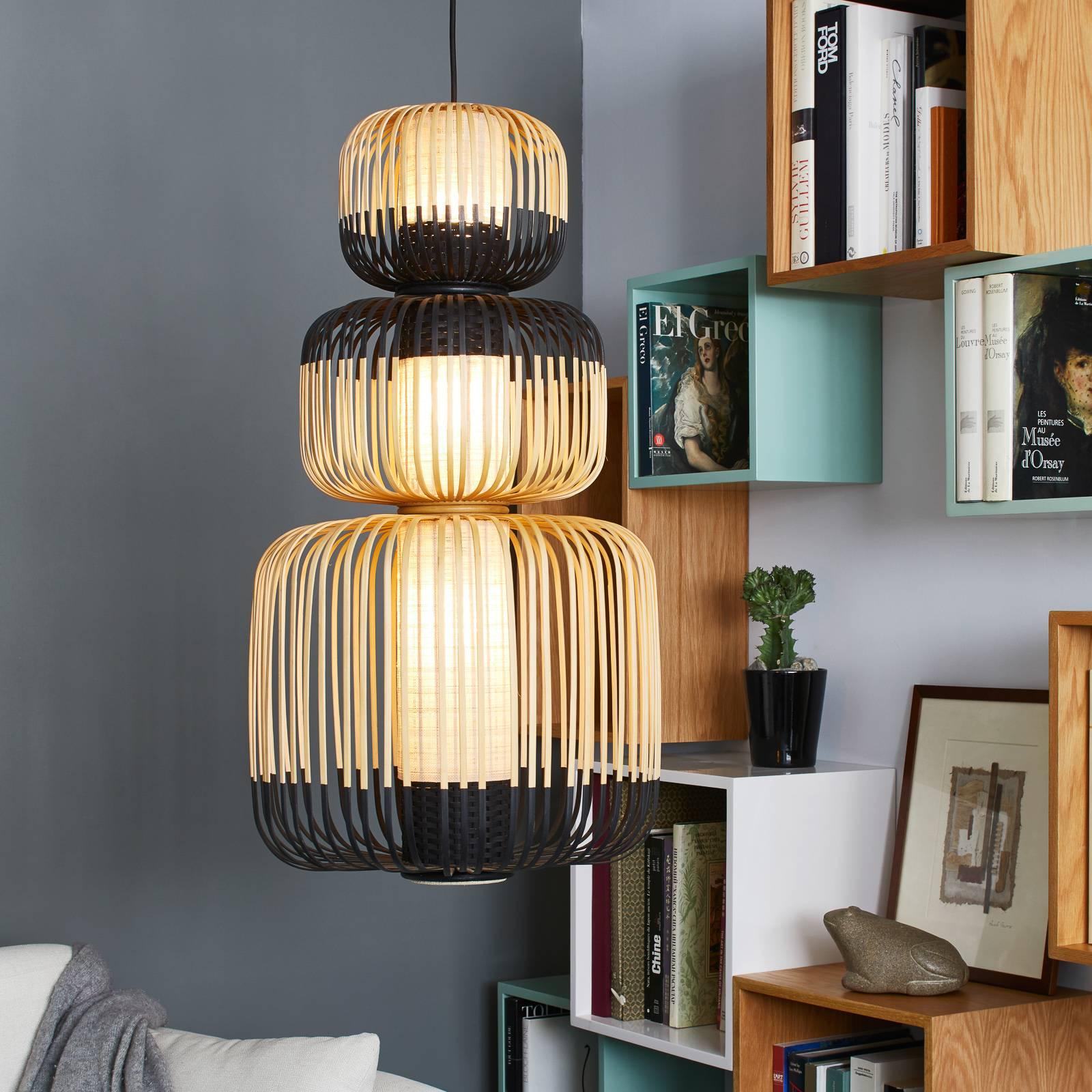 Forestier Bamboo -riippuvalaisin, musta, 3-lamp.