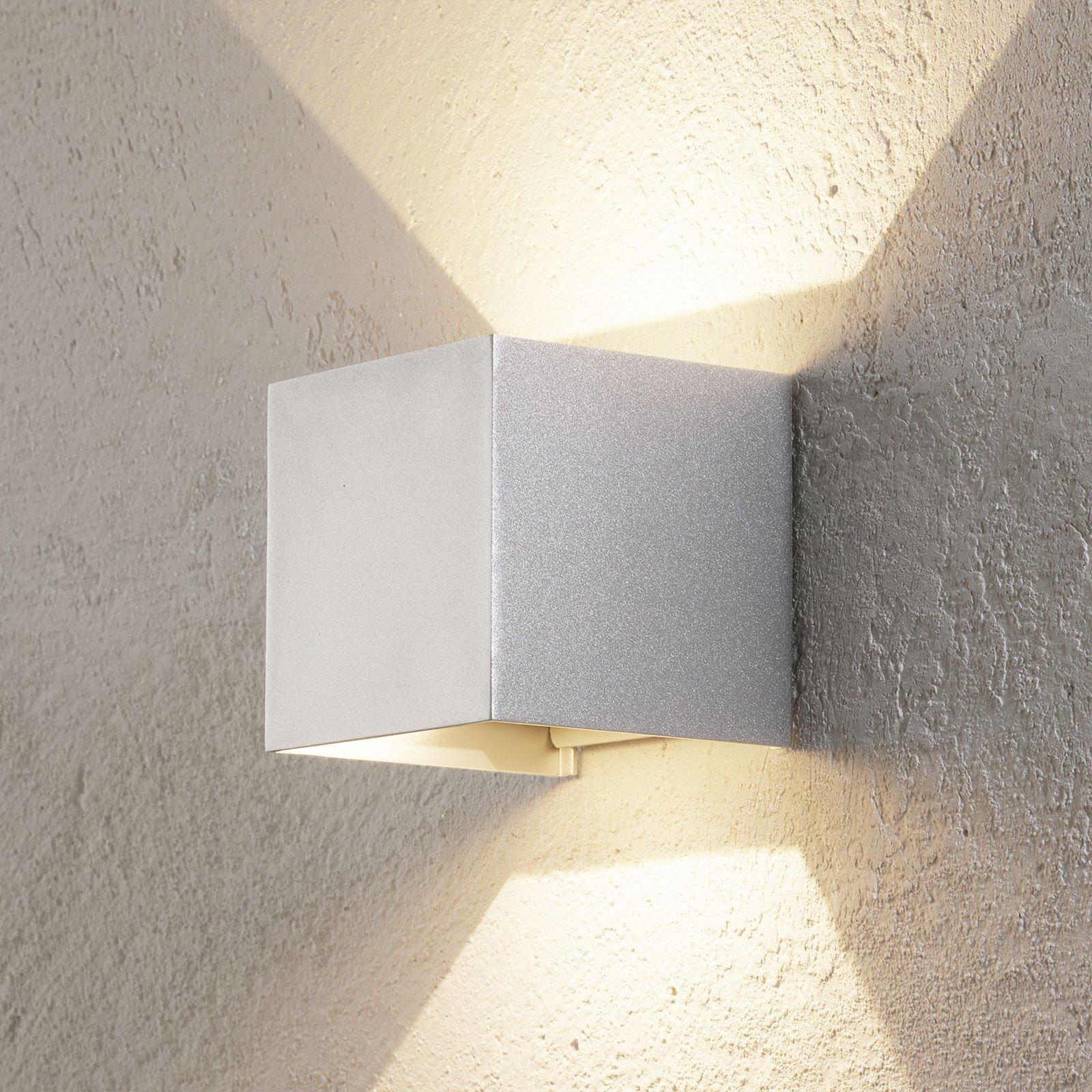 Utendørs LED-vegglampe Cube aluminium