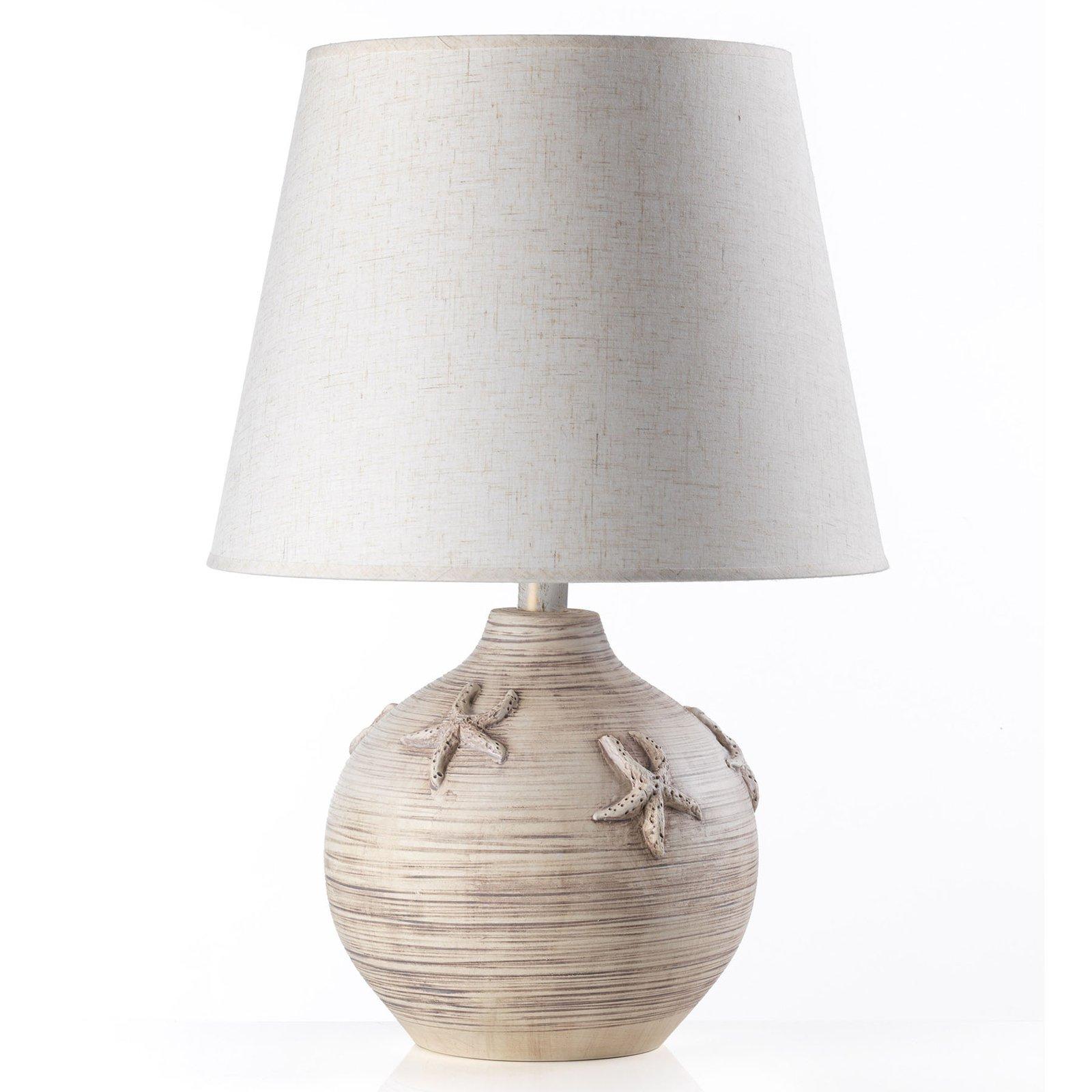 Bordlampe Marina, høyde 61 cm, sjøstjerne-deko