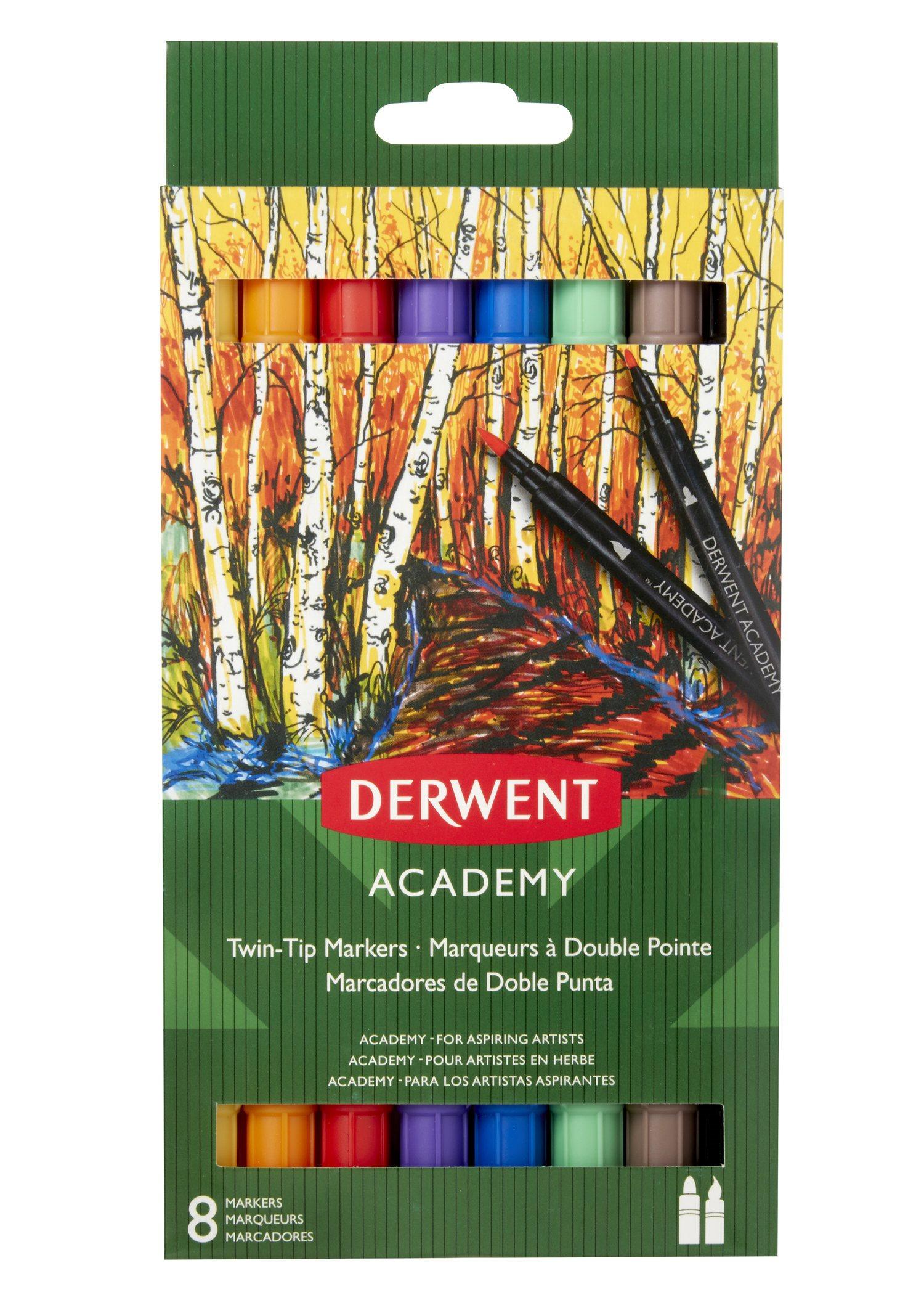 Derwent - Academy Twin Tip Markers, 8 Fine & Brush Tip