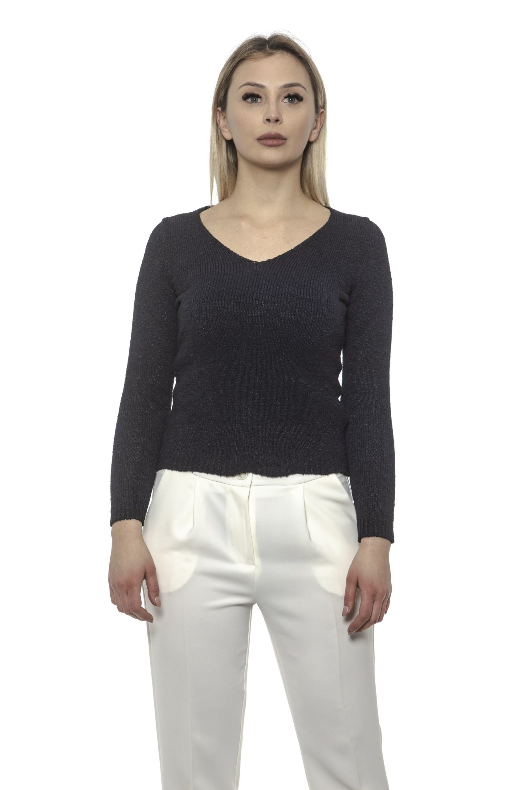 Alpha Studio Women's V Neck Sweater Blue AL1375202 - IT40 | XS