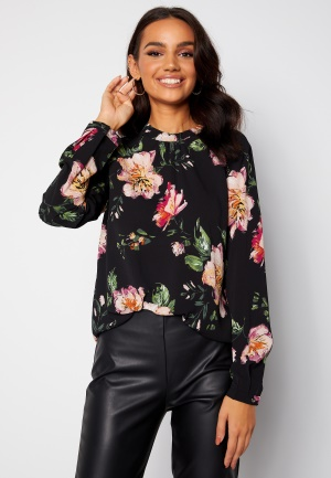 ONLY New Mallory L/S Blouse Black/Jasmin Flower 38