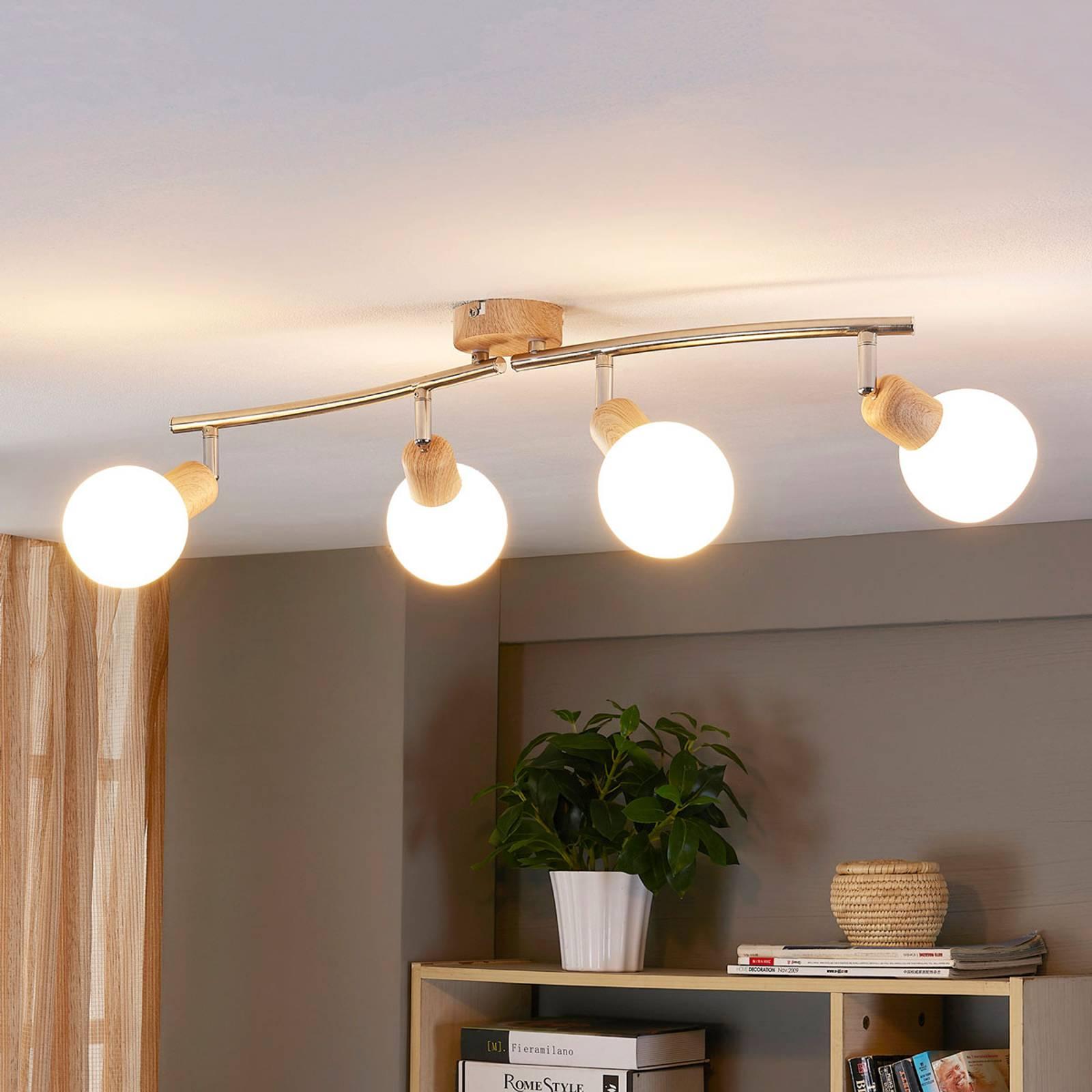 4-lamppuinen LED-kohdevalo Svenka, puupinta