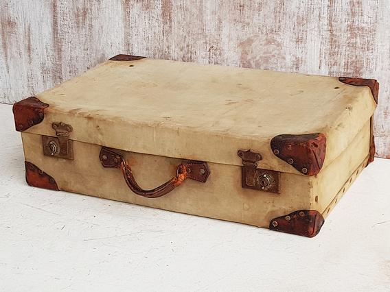 Military Canvas Suitcase Cream