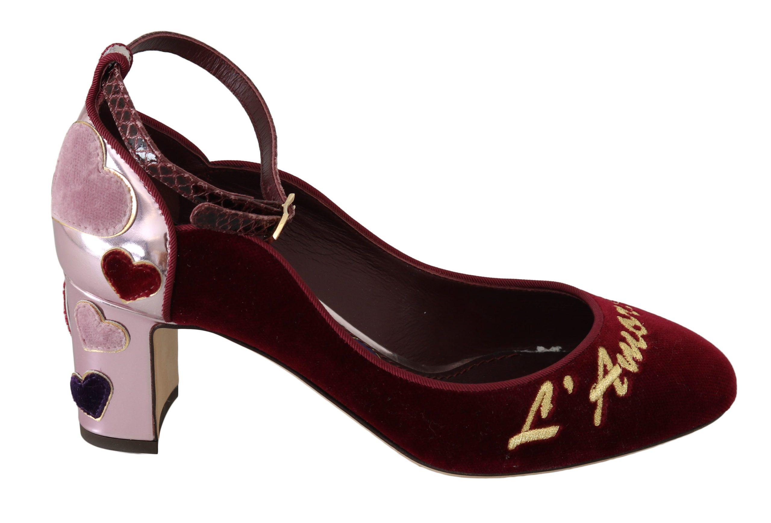 Dolce & Gabbana Women's Leather Hearts Heels Shoes Red LA6260 - EU35/US4.5
