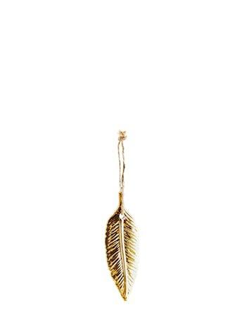 Fjærdekorasjon 10,5x3,5 cm - Gull