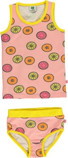 Småfolk Frukt Undertøyssett, Silver Pink 1-2år