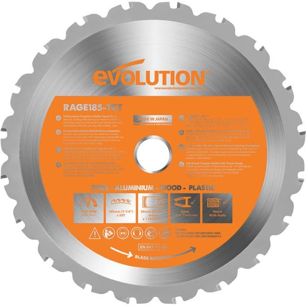 Evolution EV185S Sahanterä 185x20mm, 20T