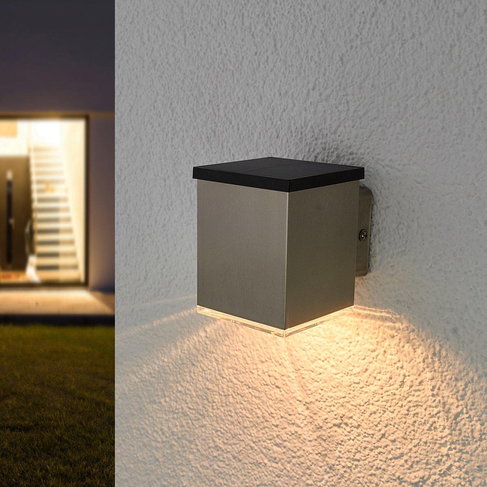 LED-solcelle-vegglampe Tyson, kantet, klar