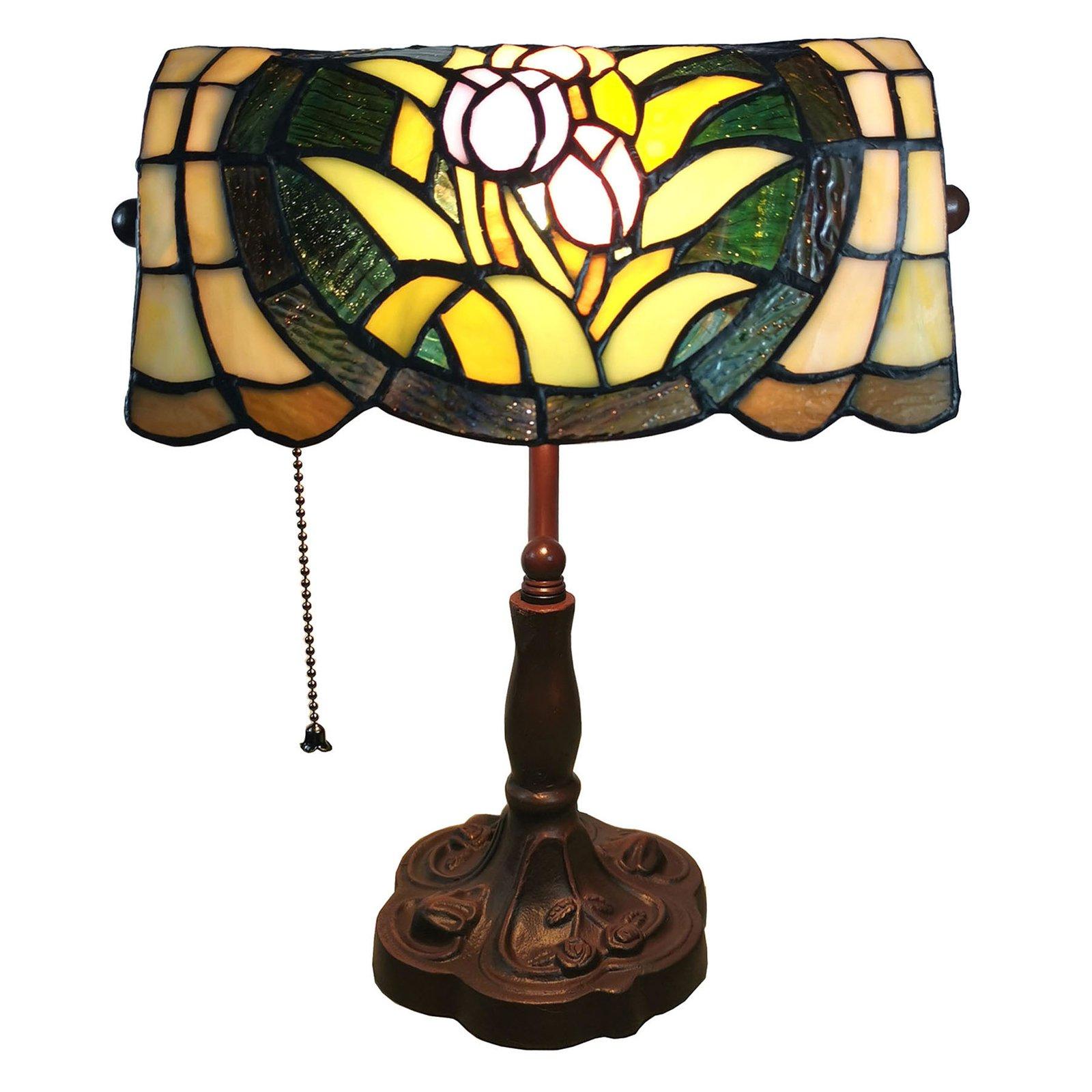 6013 bordlampe med blomsterdekor. i Tiffany-look