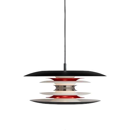 Diablo Pendel Mattsvart/ Blankröd LED 40 cm