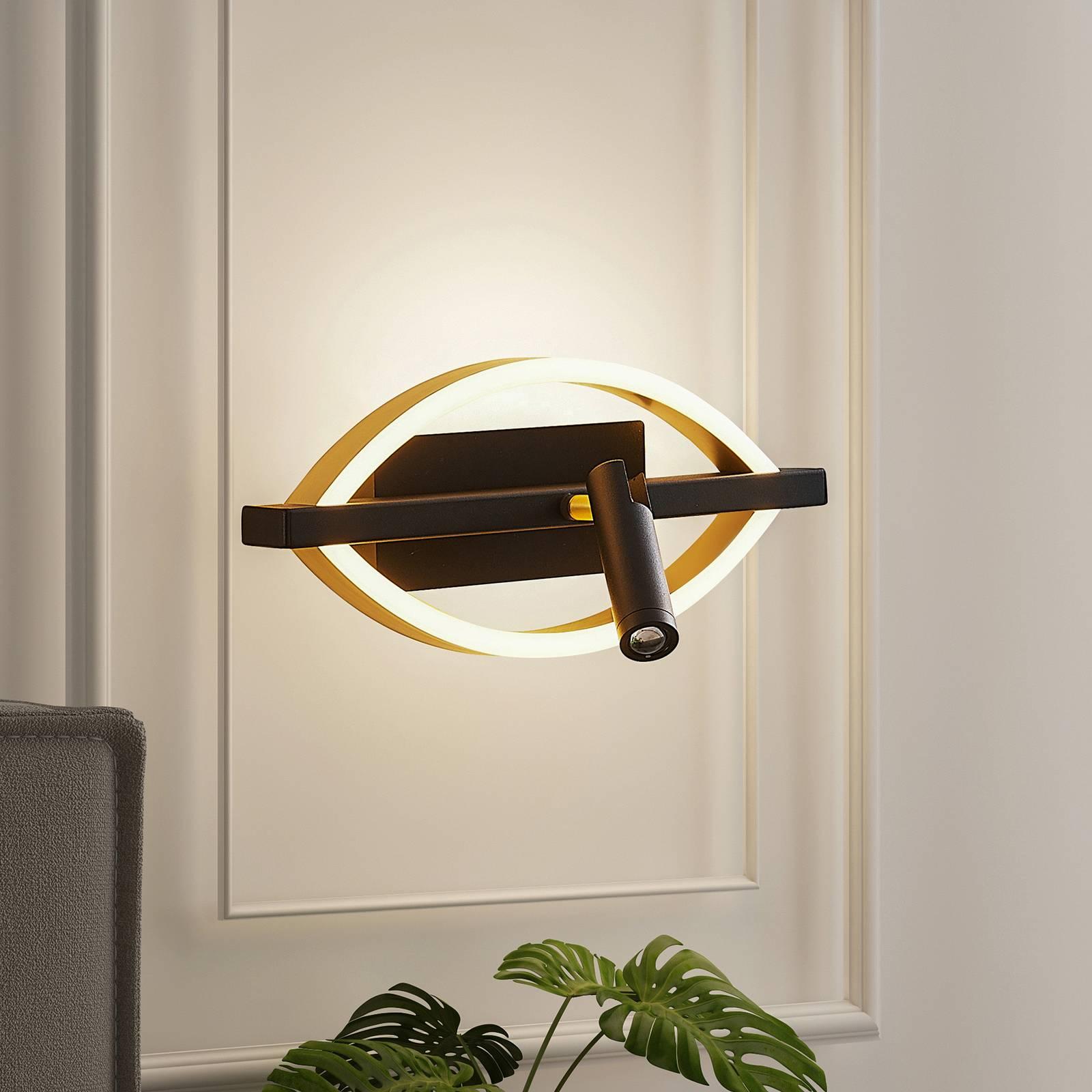 Lucande Matwei -LED-seinävalo, ovaali, messinki
