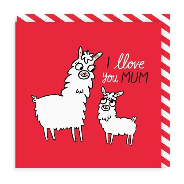 Llove You Mum Square Greeting Card