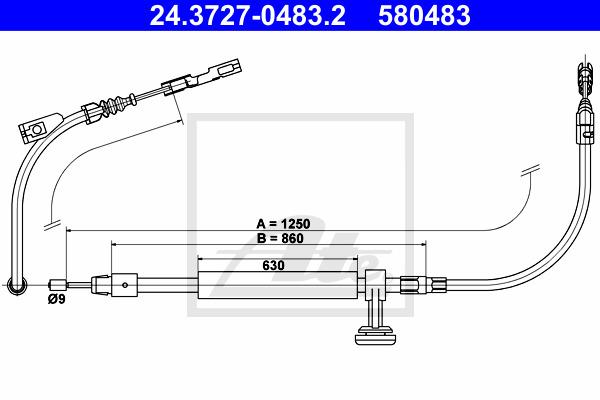 Käsijarruvaijeri ATE 24.3727-0483.2