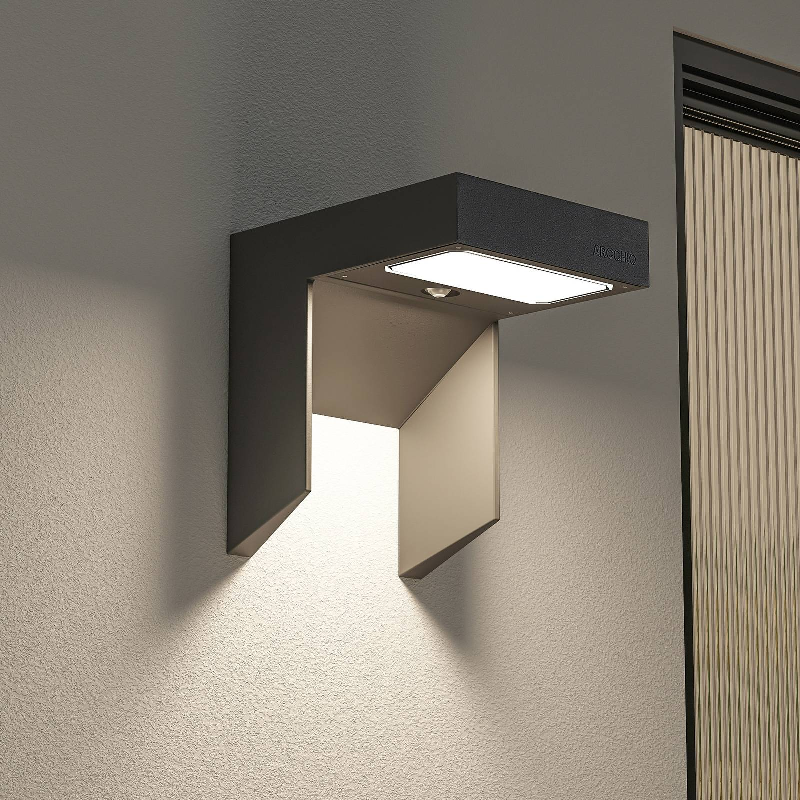 Arcchio Dynorma -LED-ulkoseinälamppu anturilla