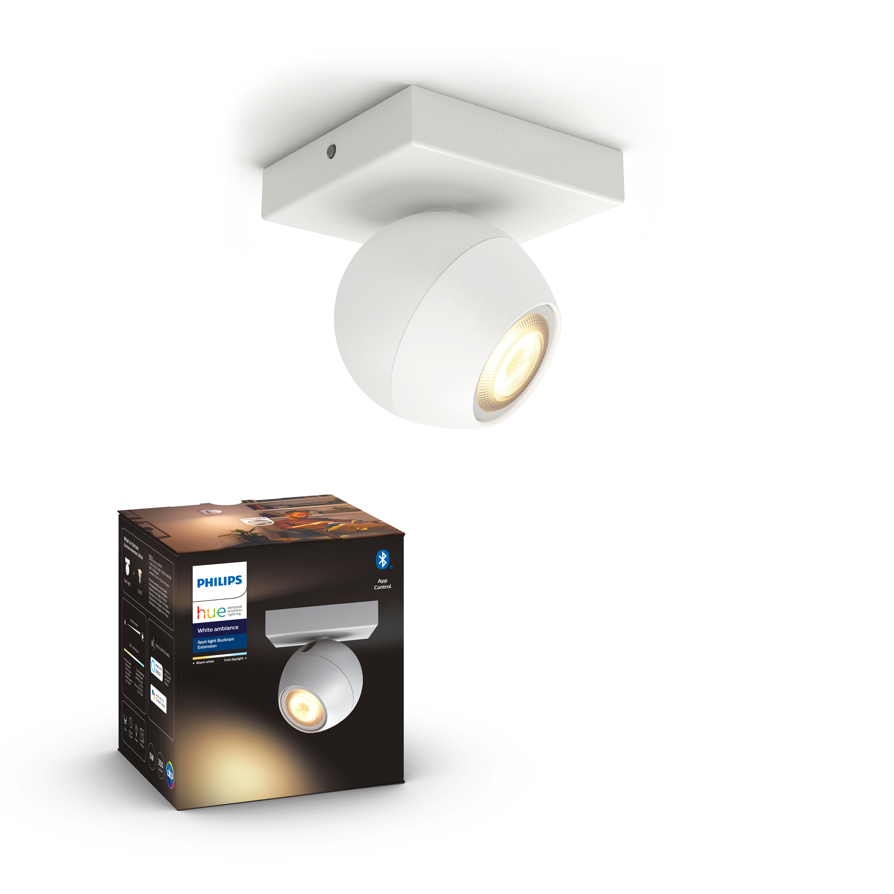 Philips Hue - BUCKRAM single spot white 1x5.5W 230V - White Ambiance - Bluetooth Without Dimmer