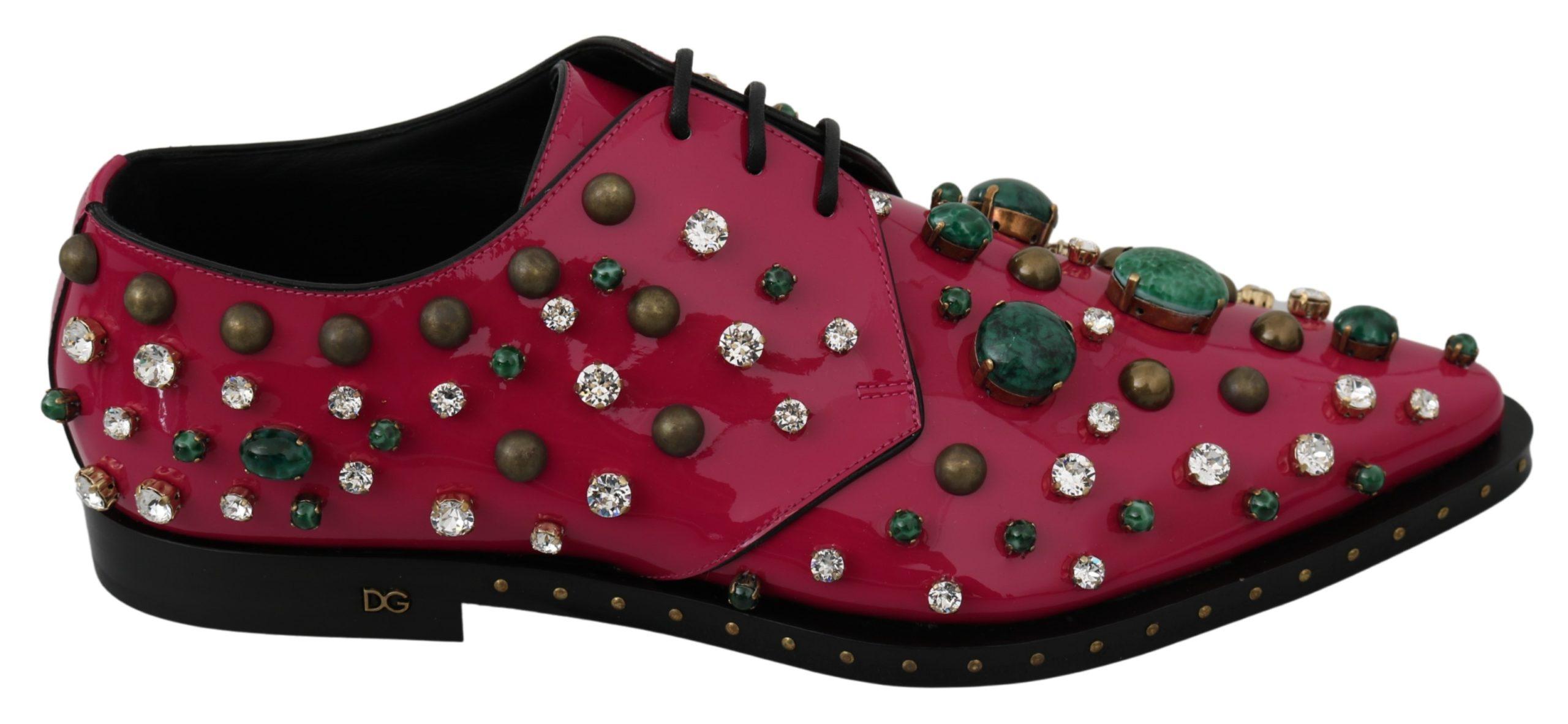 Dolce & Gabbana Women's Leather Crystals Dress Broque Shoe Pink LA7218 - EU41/US10.5
