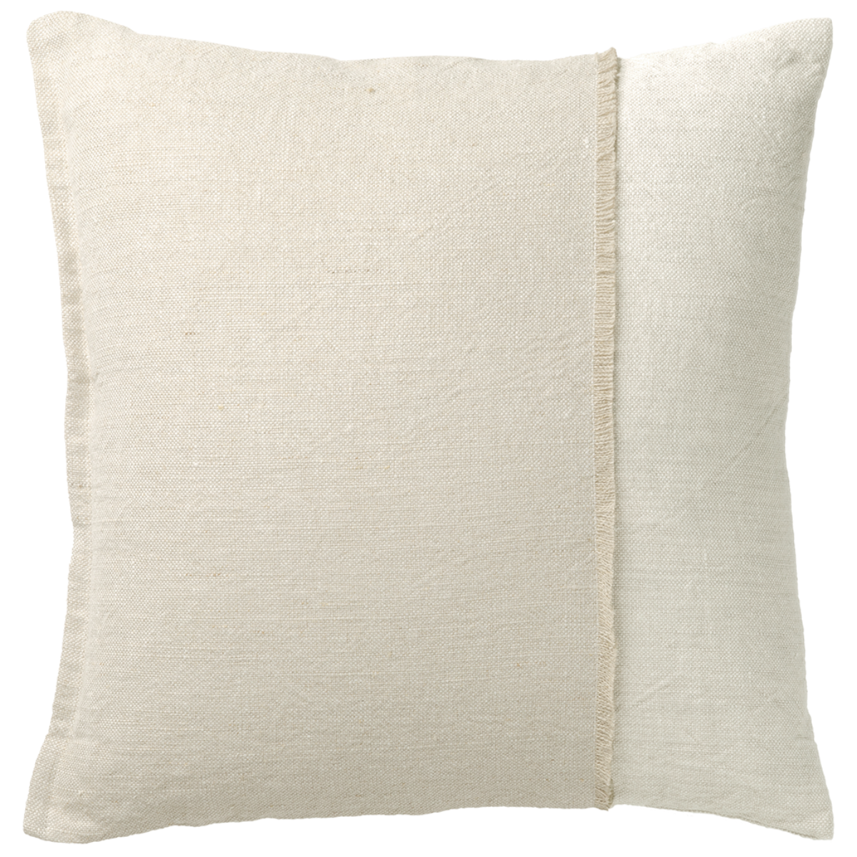 de Le Cuona   Haiku Panel Cushion With Fringe Detail Husk/Paper