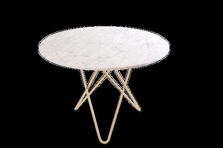 Large O Table Matt Vit Marmor med Mässingben Ø100