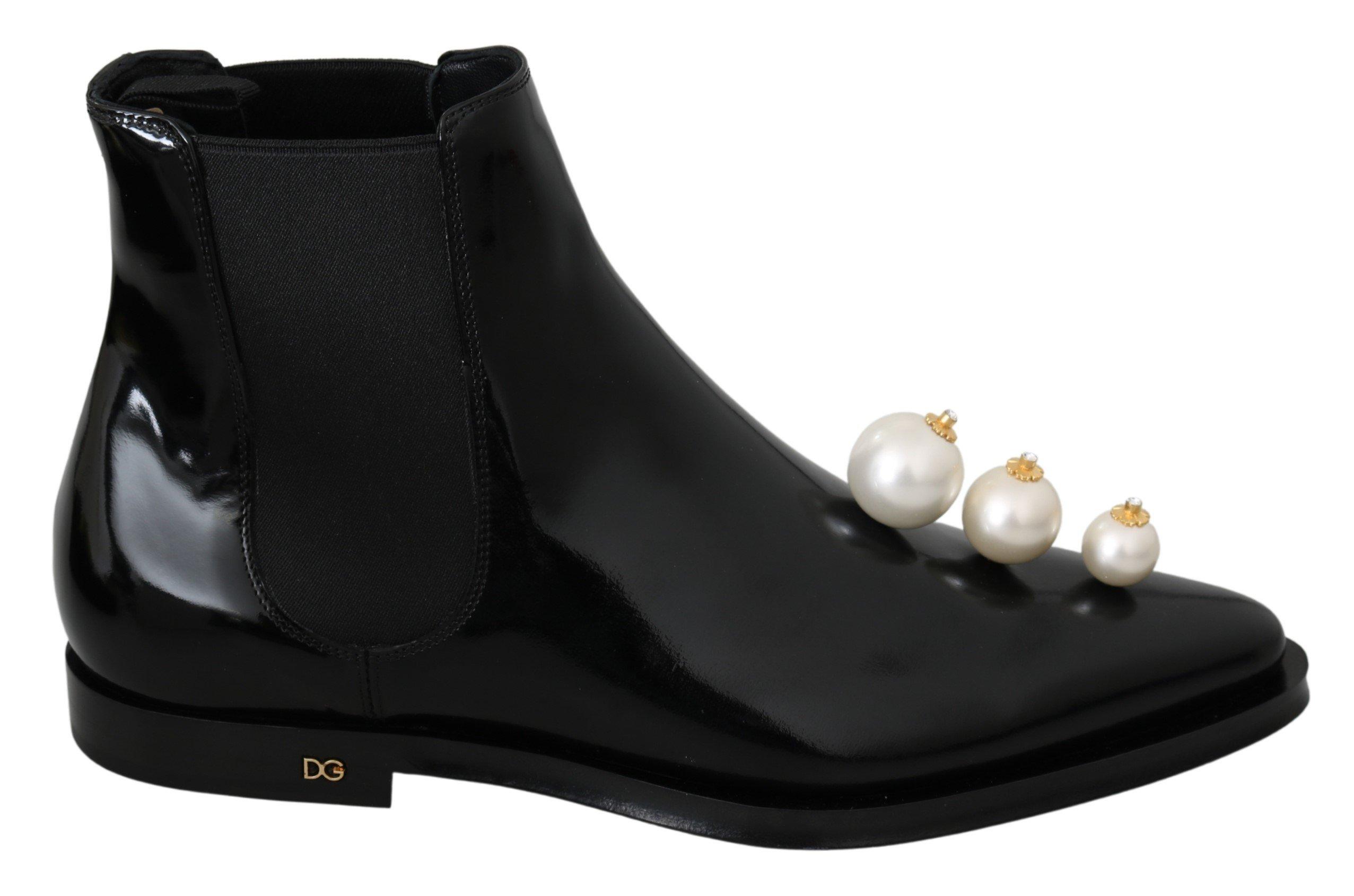 Dolce & Gabbana Women's Leather Pearls Ankle High Boot Black LA6914 - EU39/US8.5