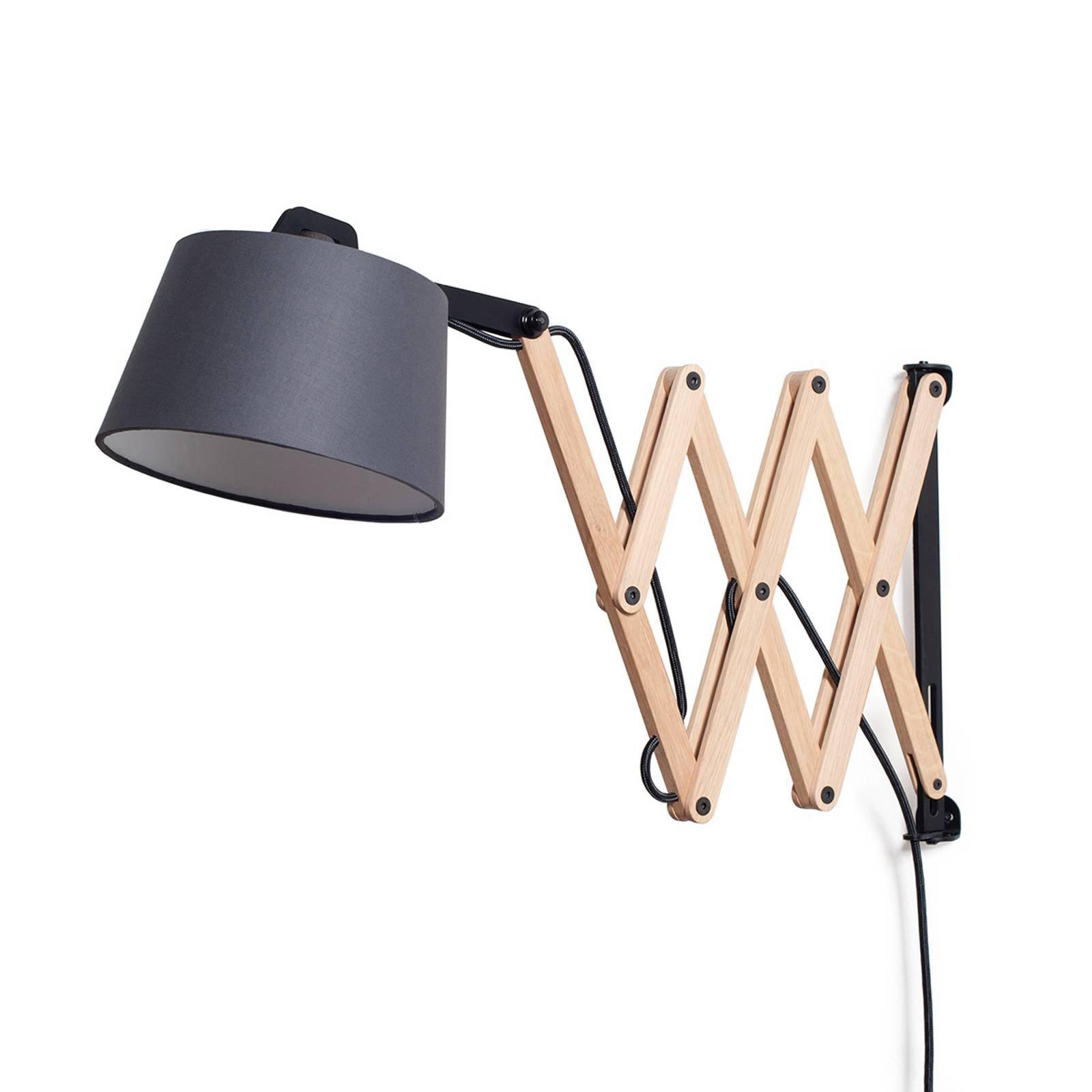 Vegglampe Edward med justerbar arm, grafitt