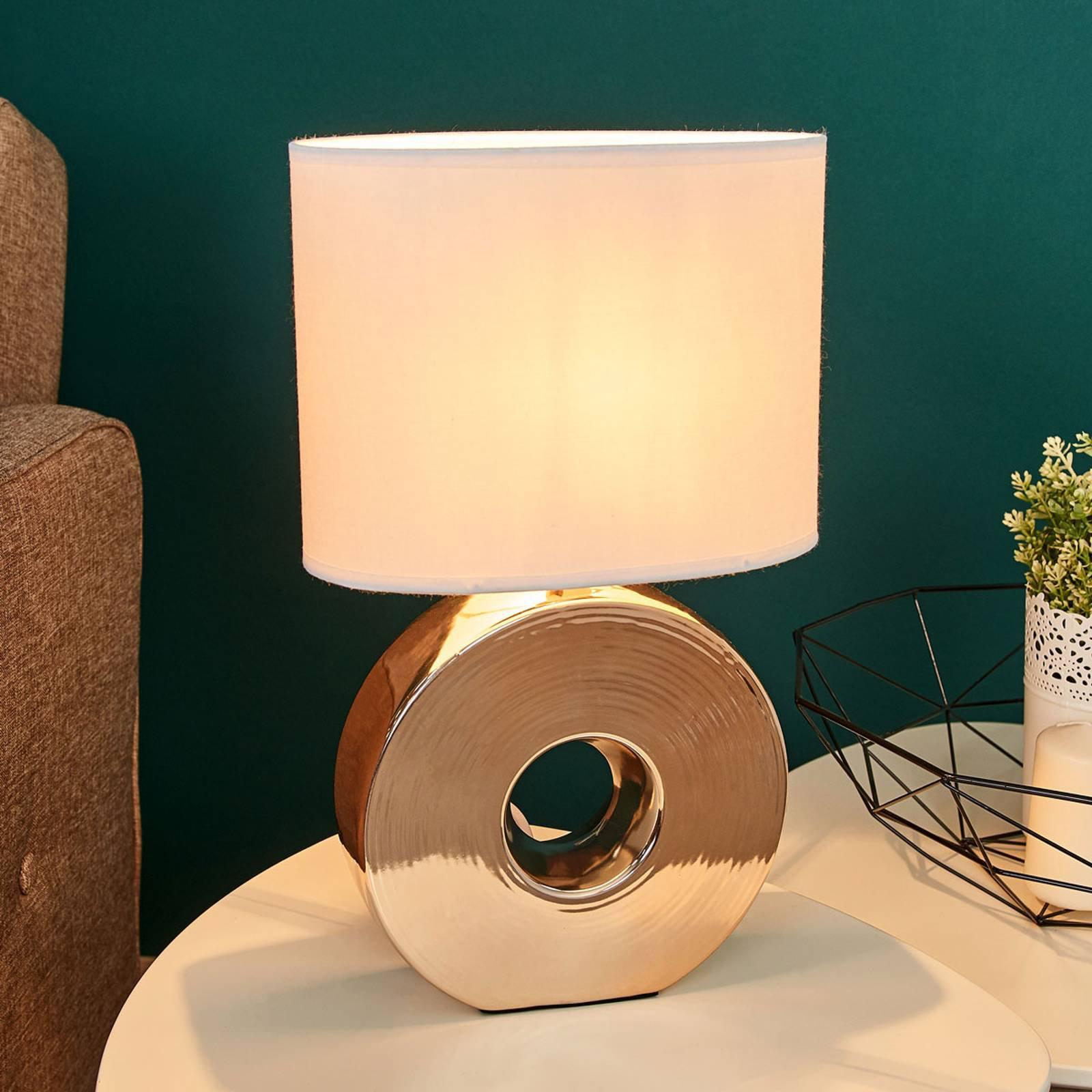 Gyllen keramikkfot - bordlampe Eye 38 cm