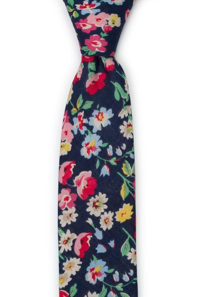 Bomull Smale Slips, Røde, hvite, blå & gule blomster på mørk marineblå