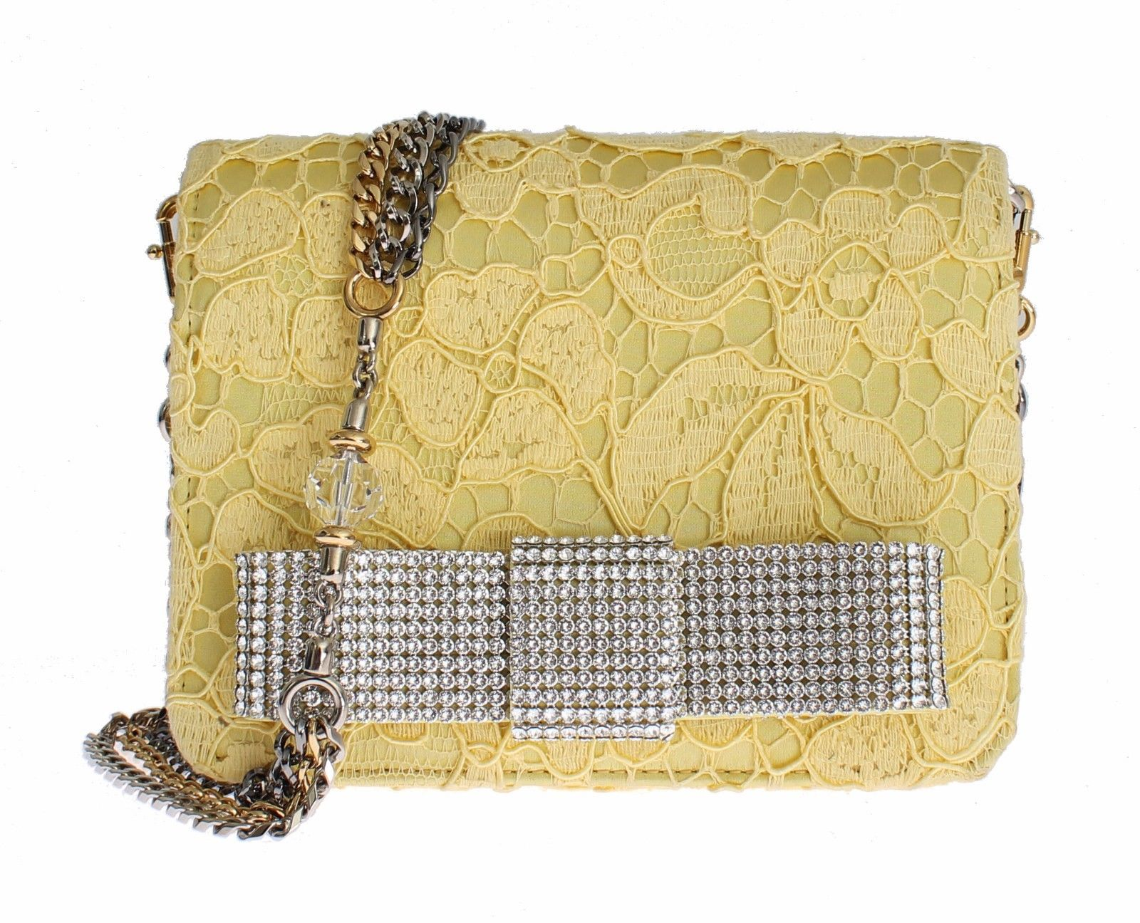 Dolce & Gabbana Women's Lace Crystal Hand Shoulder Bag Yellow SIG13439