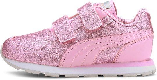 Puma Vista Glitz V PS Sneaker, Pale Pink, 32