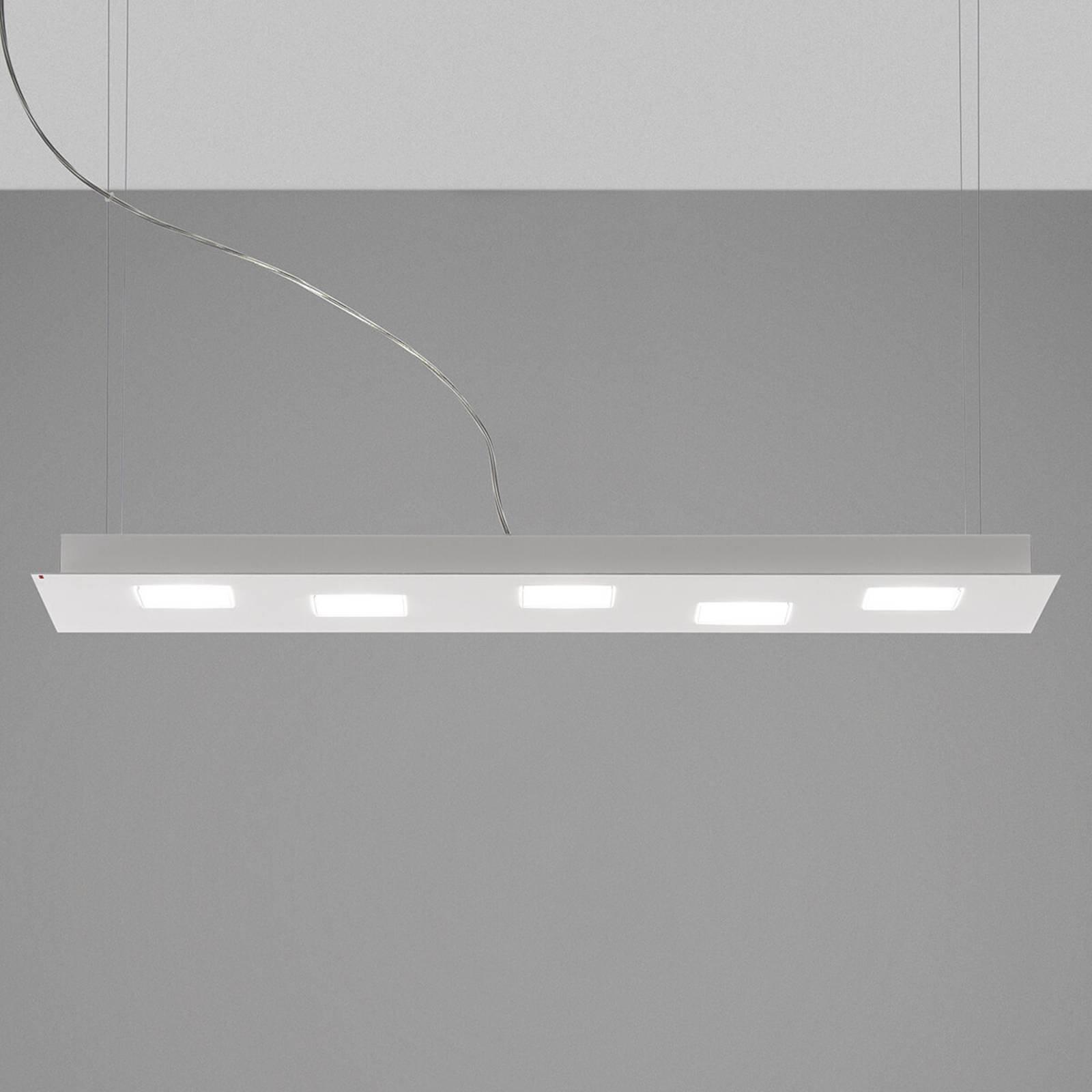 Fabbian Quarter - LED-hengelampe, 5 lyskilder hvit