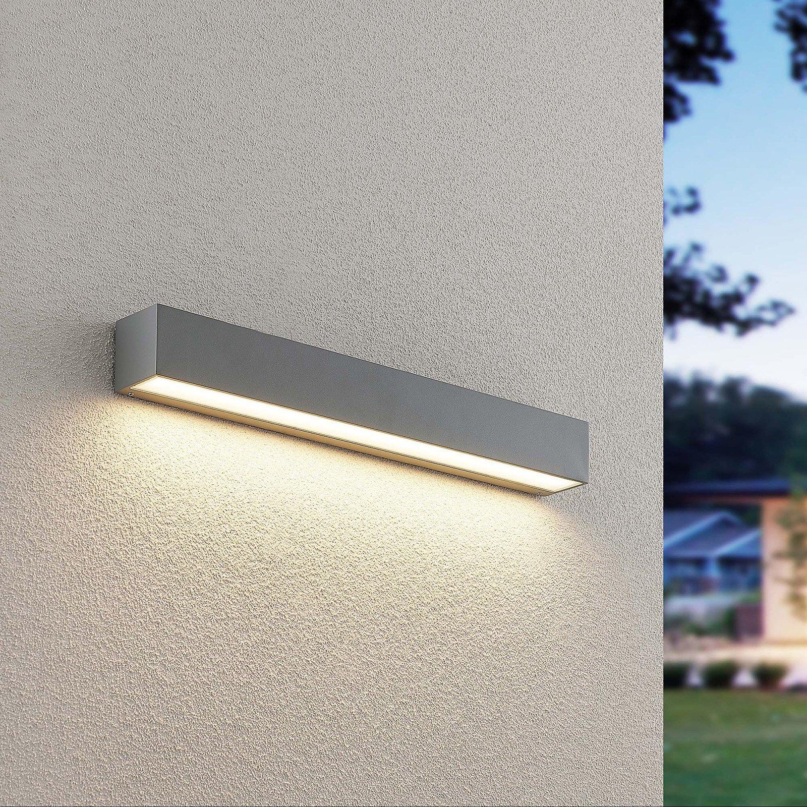 Lucande Lengo LED-vegglampe, down sølv 50cm