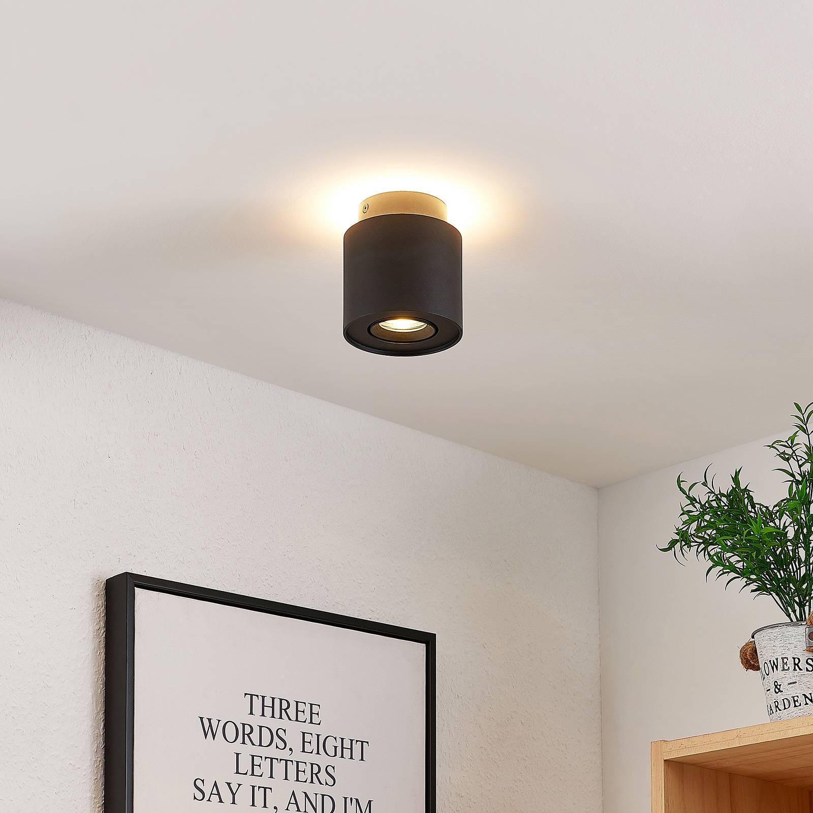 Arcchio Walisa -LED-kattovalaisin, pyöreä, musta