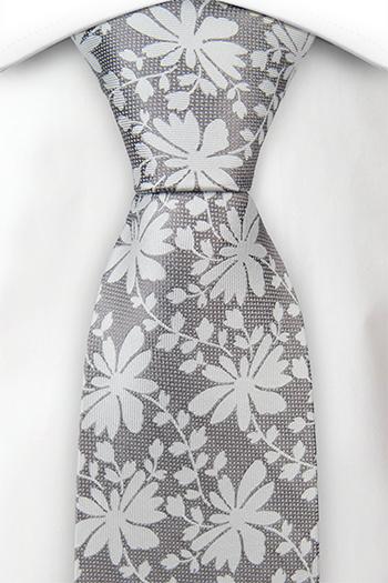 Silke Slips, Stålgrått vev, sølv blomster og blader, Grå, Blomster, Notch TERHO