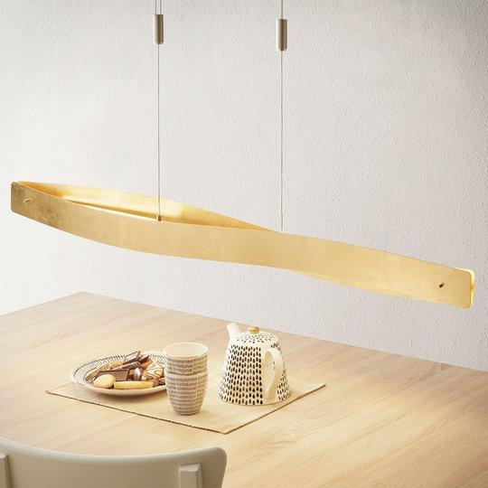 Kaareva LED-riippuvalaisin Lian, kullanvärinen