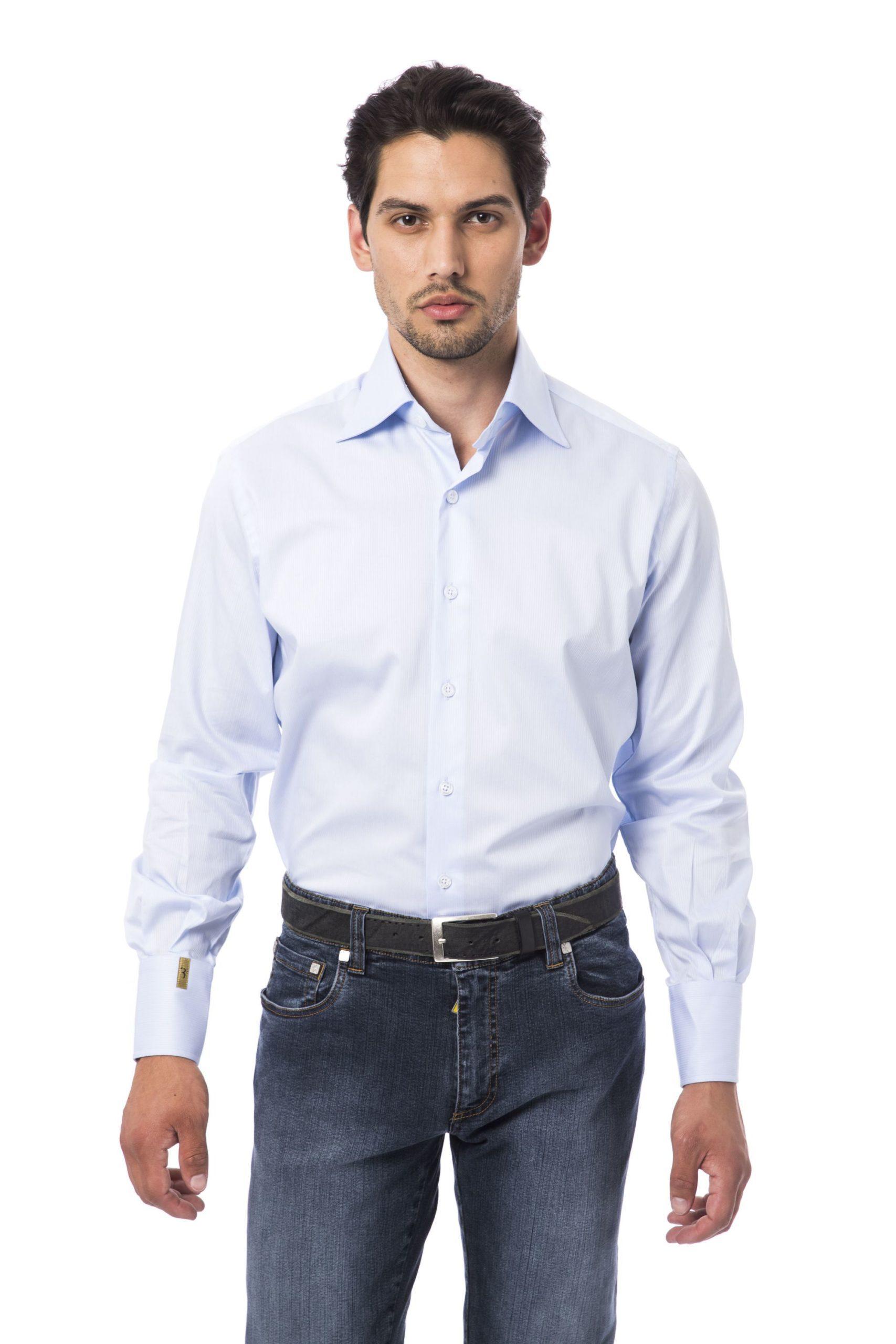 Billionaire Italian Couture Men's Azzurro Sky Shirt White BI1394813 - IT46   S