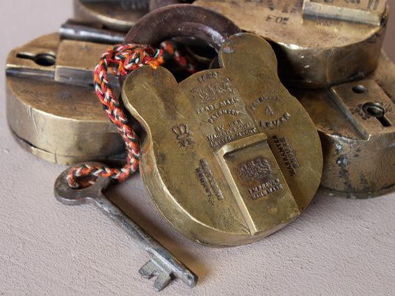 Large Old Brass Padlock Large