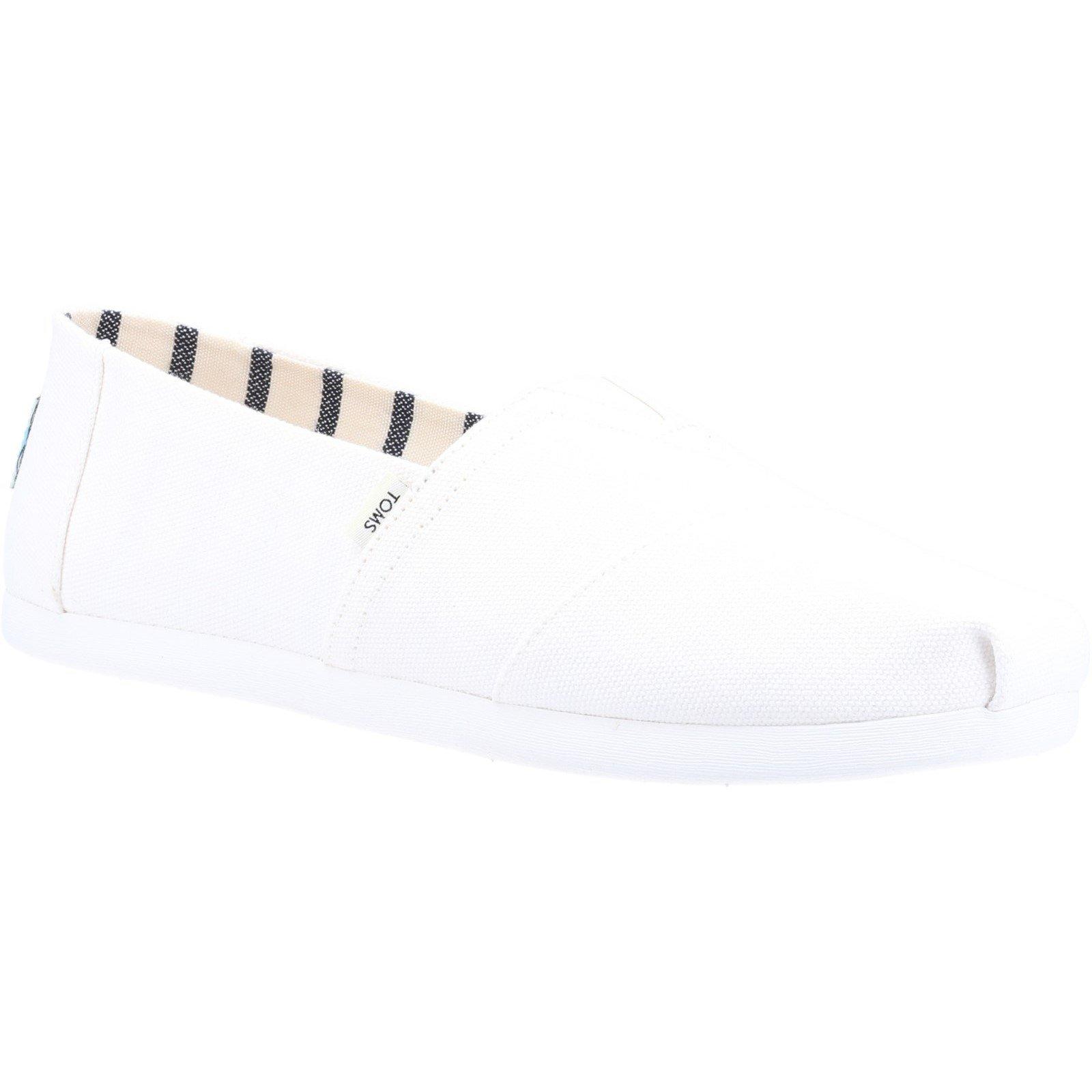 TOMS Men's Alpargata Canvas Loafer White 32554 - White 10