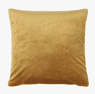 Mali velour koristetyyny keltainen