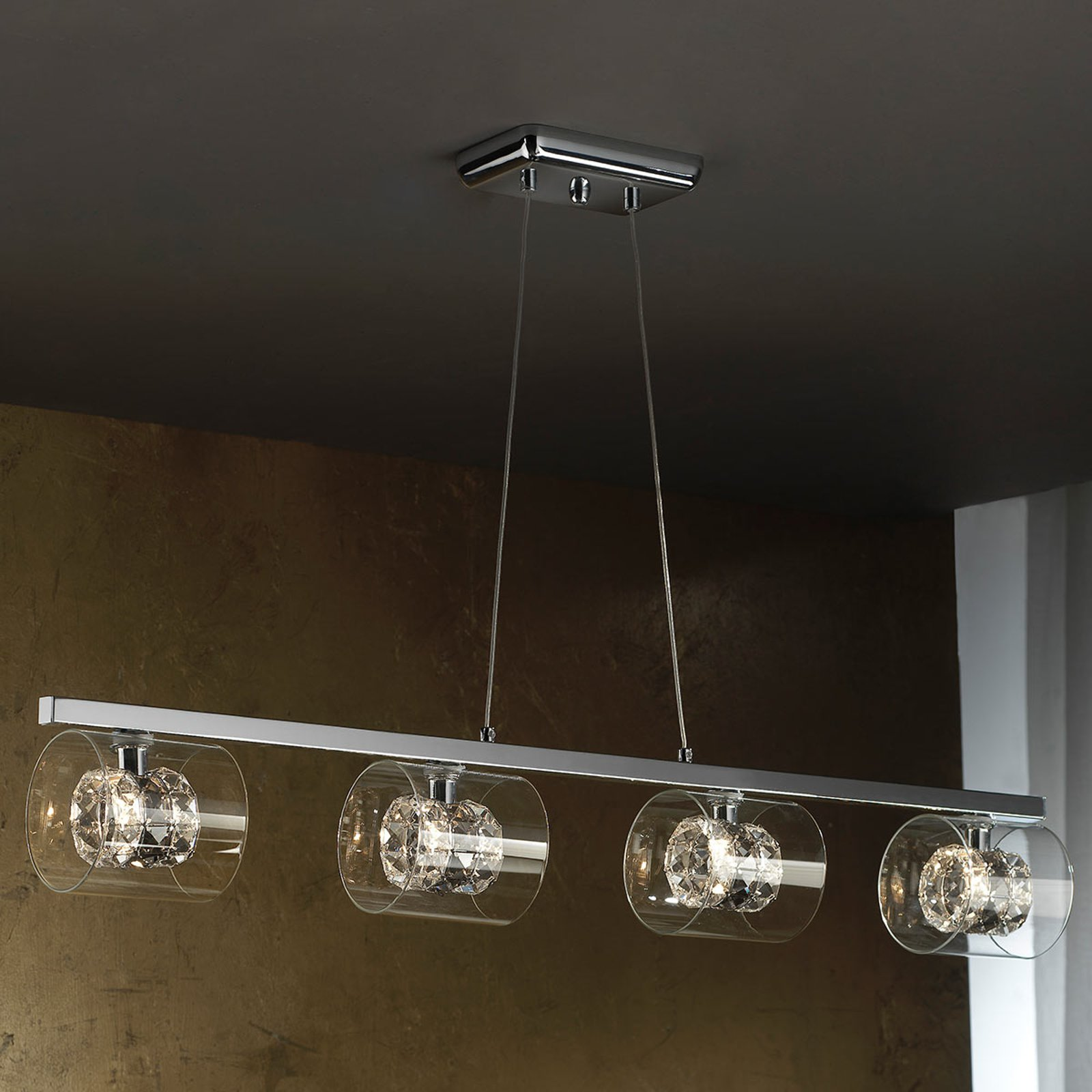 LED-pendellampe Flash med krystallringer