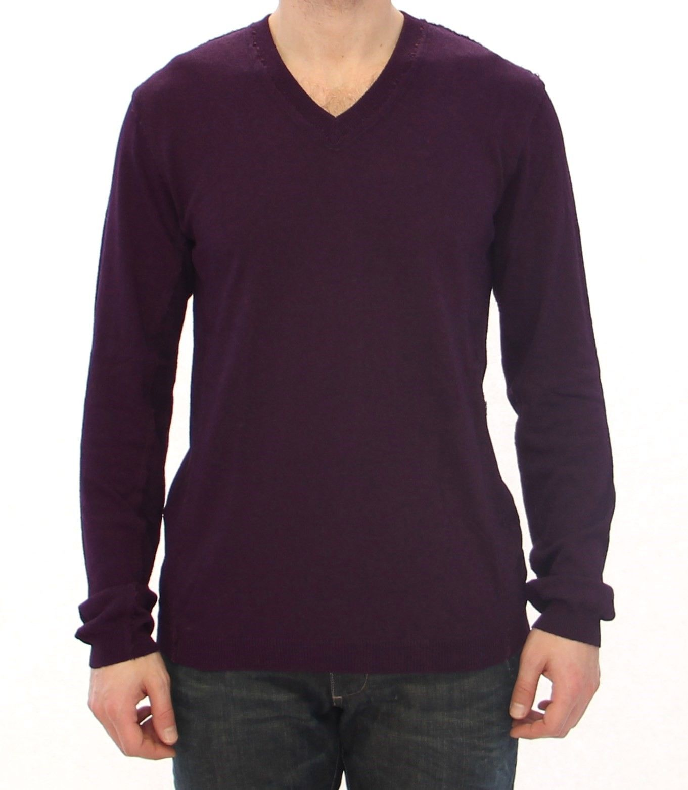 Dolce & Gabbana Men's Rayon Logo Logo V-neck Sweater Purple GTH10886 - IT48 | M