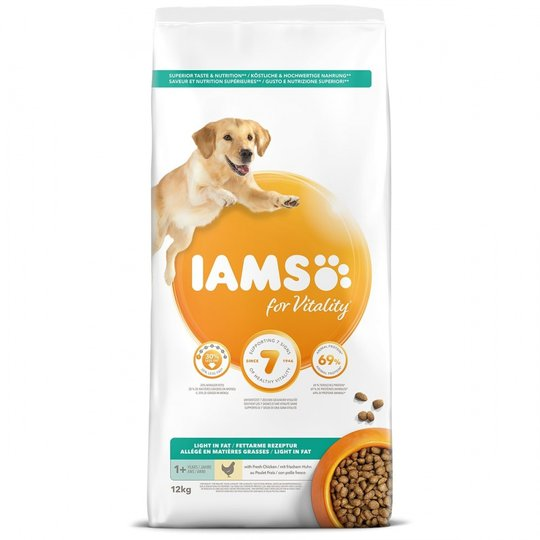 Iams for Vitality Dog Adult Light In Fat Chicken 12 kg