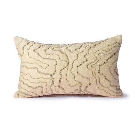 Cream Kudde m stitched lines 30x50 cm