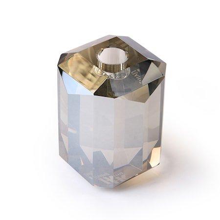 Krystallglass Lysestaker Grå Diamant