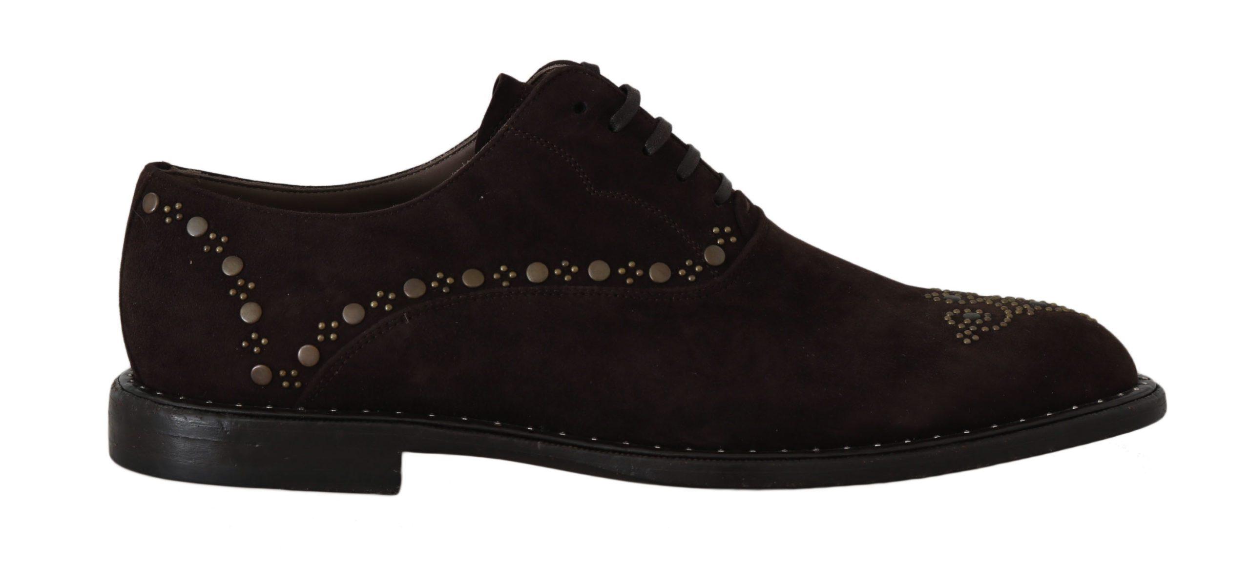 Dolce & Gabbana Men's Suede Marsala Derby Studded Shoes Brown MV2187 - EU39/US6
