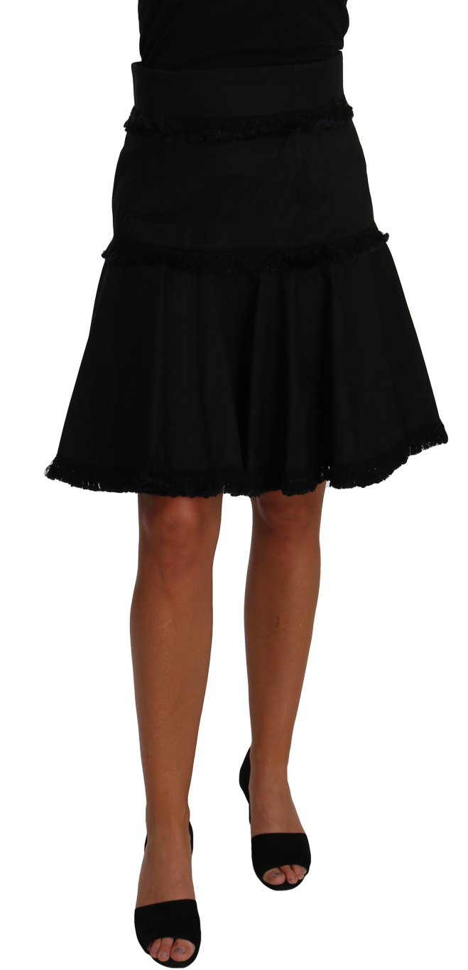 Dolce & Gabbana Women's A-Line Fringes Skirt Black PAN61028 - IT42|M