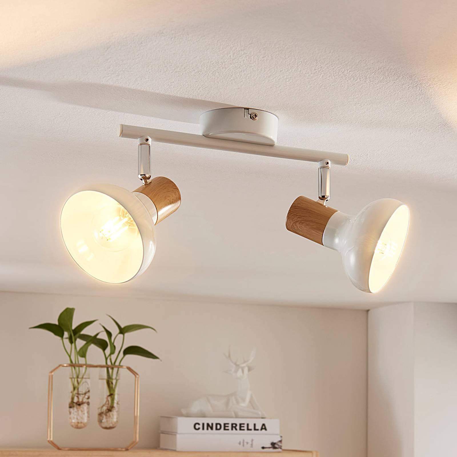 2-lamppuinen kattokohdevalo Fridolin valk. metalli