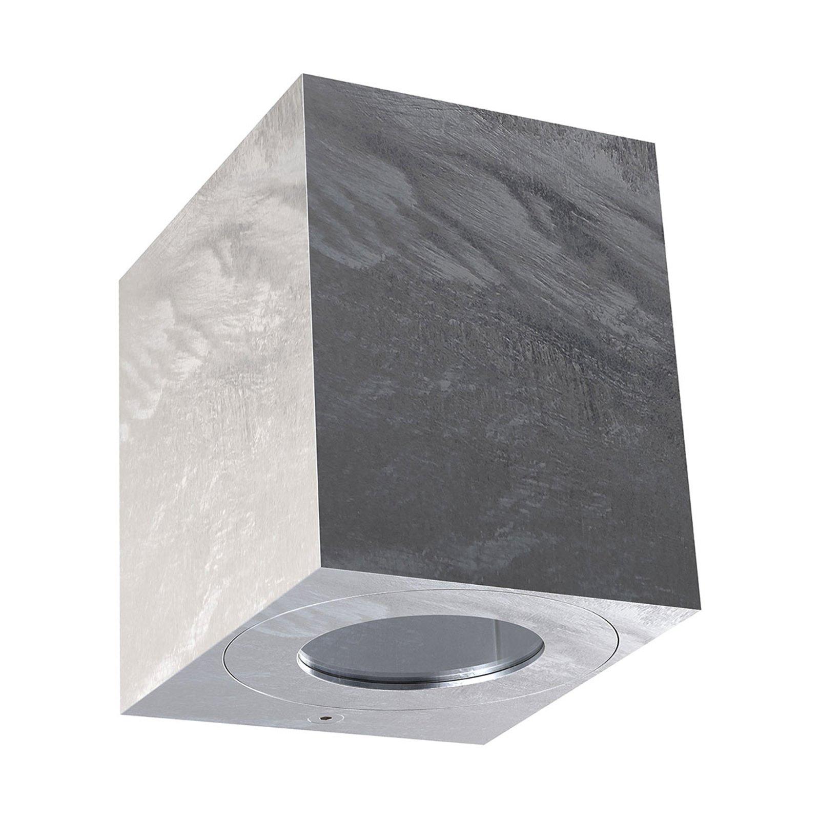 LED-utevegglampe Canto Kubi 2, 10 cm, galvanisert