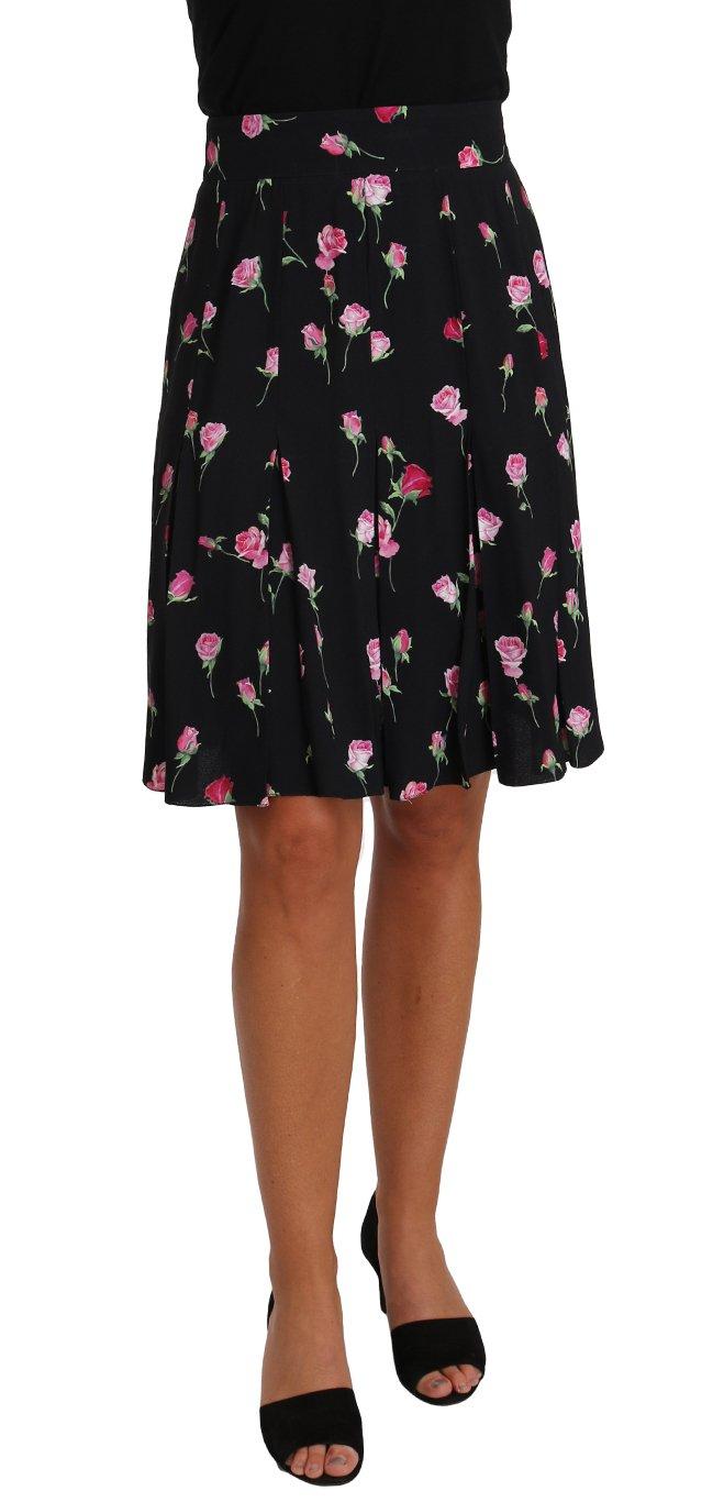 Dolce & Gabbana Women's Rose Print Floral Skirt Black SKI1149 - IT38 XS