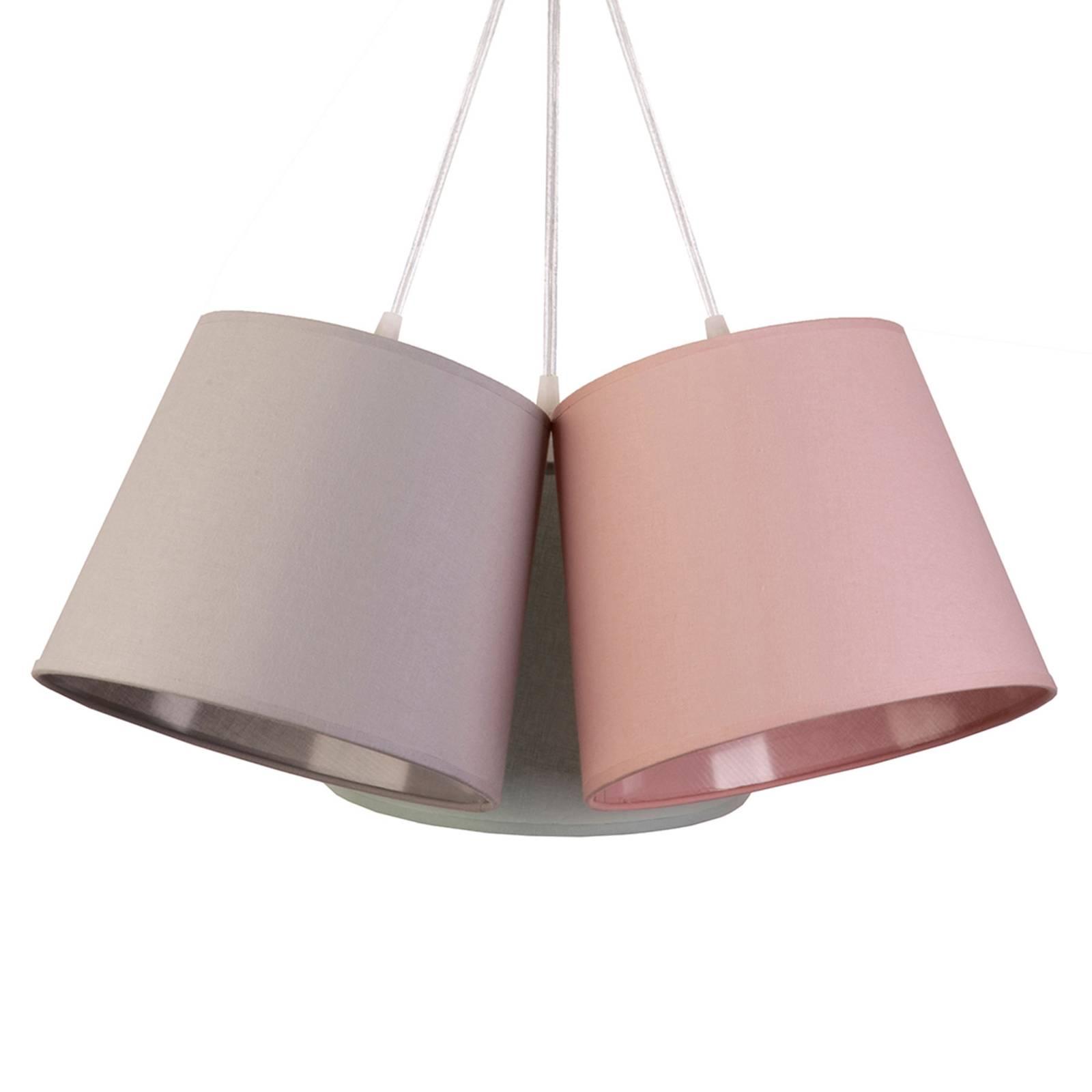 Riippuvalaisin Rossa, 3-lamppuinen, harmaa/roosa