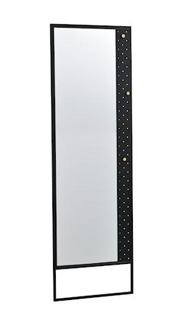 Jersey Golvspegel Svart Metall/guldknopp 53x170 cm